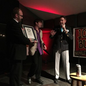 Official GUINNESS WORLD RECORDS Adjudicator Michael Empric awards the plaque to Chad Riden and DJ Buckley on April 15, 2015