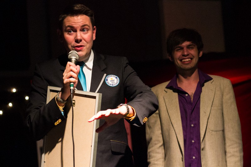 GUINNESS WORLD RECORDS judge Michael Empric with 'Broken Record' co-host D.J. Buckley. PHOTO: LANCE CONZETT.
