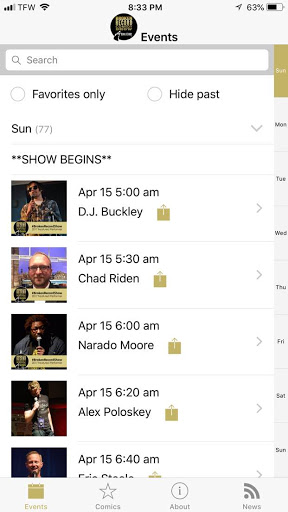 #BrokenRecordShow app - schedule